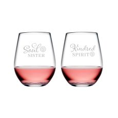 Kindred Spirit & Soul Sister Tritan Stemless Wine Tumblers, S/2