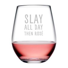 Slay All Day Tritan Stemless Wine Tumblers, S/4