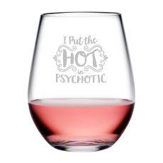 Psychotic Tritan Stemless Wine Tumblers, S/5