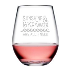 Sunshine & Lake Water Tritan Stemless Wine Tumblers, S/4