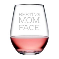 Resting Mom Face Tritan Stemless Wine Tumblers, S/4