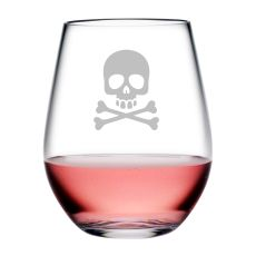 Skull & Crossbones Tritan Stemless Wine Tumblers, S/4