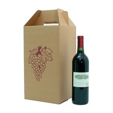 4 Bottle Corrugated Wine Carryout with Grape