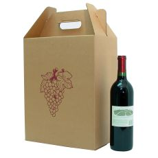 6 Bottle Corrugate Wine Carryout with Grape