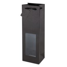 Black Kraft Window Wine Bag
