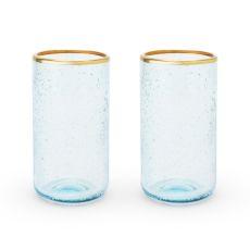 Seaside: Aqua Bubble Glass Tumbler Set by Twine