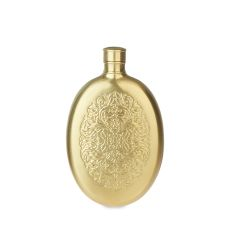 Brushed Brass Finish Stainless Steel Filigree Flask by Twine