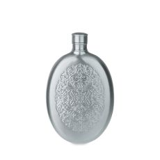 Brushed Pewter Finish Stainless Steel Filigree Flask by Twin