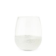 Glimmer: Silver Glitter Silicone Wrapped Stemless Wine Glass