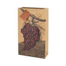 Illustrated Grapes Double Bottle Wine Bag