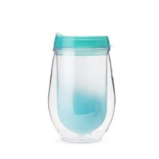 Traveler Double Walled Wine Tumbler in Teal Ombre by True