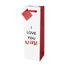I Love Wine Single-Bottle Wine Bag by Cakewalk