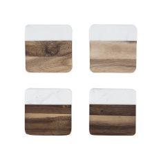 Marble & Acacia Coaster Set by Twine