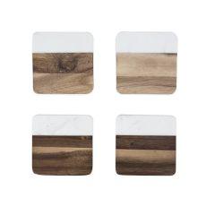Marble & Acacia Coaster Set by Twine
