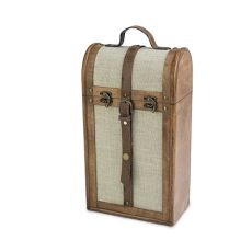 2-Bottle Vintage Trunk Wine Box by Twine