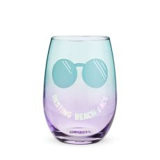Resting Beach Face Stemless Wine Glass by Blush