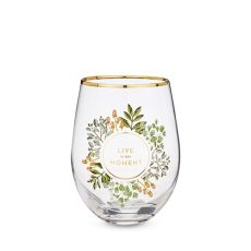Live in the Moment Stemless Wine Glass by Twine