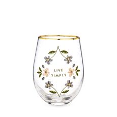 Live Simply Stemless Wine Glass by Twine