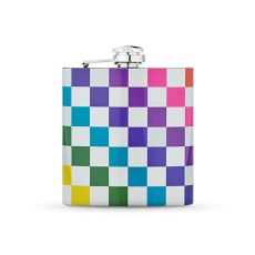 Checkered Rainbow 6oz Flask by TrueZoo