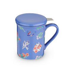 Annette Tea Flower Blue Ceramic Tea Mug & Infuser by Pinky