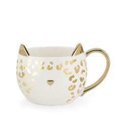 Chloe White Leopard Cat Mug by Pinky Up