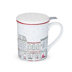 Annette Street Red Ceramic Tea Mug & Infuser by Pinky Up