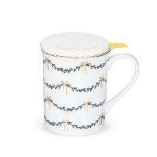 Annette Garland White Ceramic Tea Mug & Infuser by Pinky Up