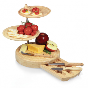 Regalio-3 Tier Rubberwood Cutting Board/Server