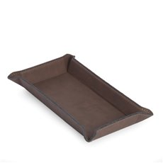 Rectangular Valet in Rustic Brown Leatherette