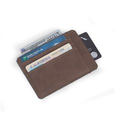 5 Slot Credit Card Holder in Rustic Brown Leatherette