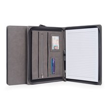 Multi Compartment Business Padfolio / Portfolio with Zipper Closure in Grey