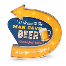 Man Cave Metal Sign, LED Lighted, Wall Mountable