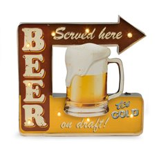 Beer Served Here Metal Sign, LED Lighted, Wall Mountable
