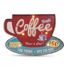 Coffee Metal Sign, LED Lighted, Wall Mountable