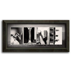 Wine Letter Art Mini Framed, Wine Art Spells Your Name