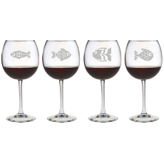 Fish Assortment Etched Stemmed Wine Glass Set