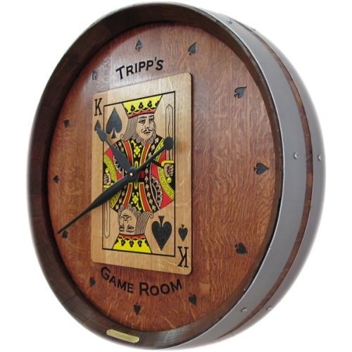 Game Room Wine Barrel Clock