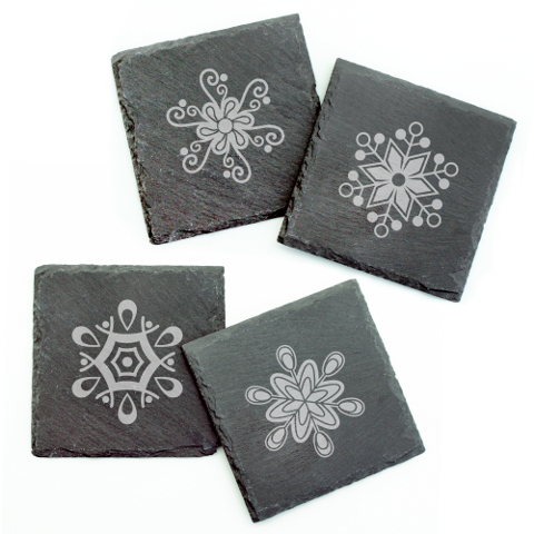 Abstract Snowflakes Slate Coasters (set of 4)