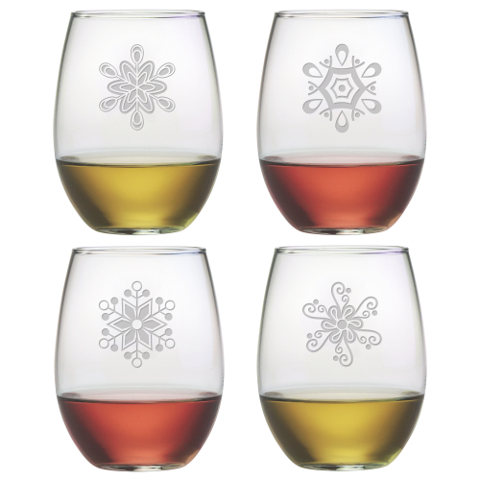 Abstract Snowflakes Stemless Wine Glasses (set of 4)