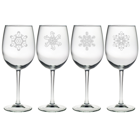 Abstract Snowflakes Stemmed Wine Glasses (set of 4)