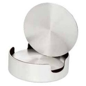 Aluminum Coasters, Cushioned Base with Holder