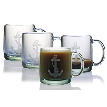 Anchor Etched Coffee Mug Glasses (set of 4)