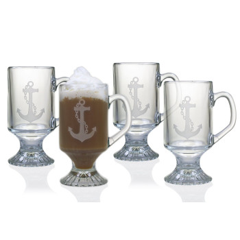 Anchor Etched Footed Coffee Mug Glasses (set of 4)