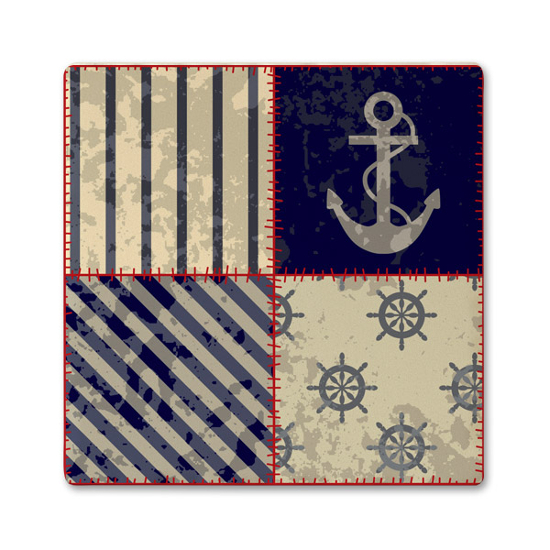 Anchor Quilt Ceramic Nautical Coaster