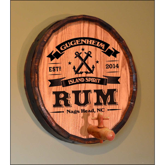 Personalized Anchor Rum Quarter Barrel Sign