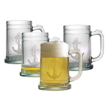 Anchor Tankard Beer Mugs  (set of 4)