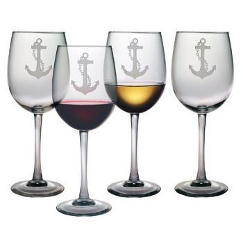 Nautical Anchor All Purpose Wine Glasses (set of 4)