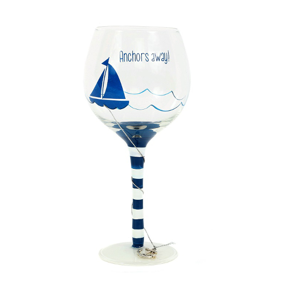 Anchors Away Wine Glass 18oz