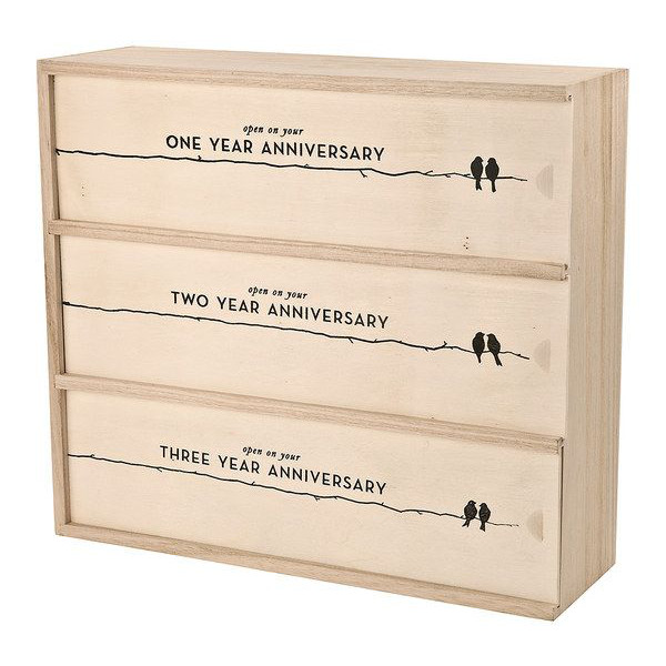Anniversary Wine Box Gift for Three Bottles