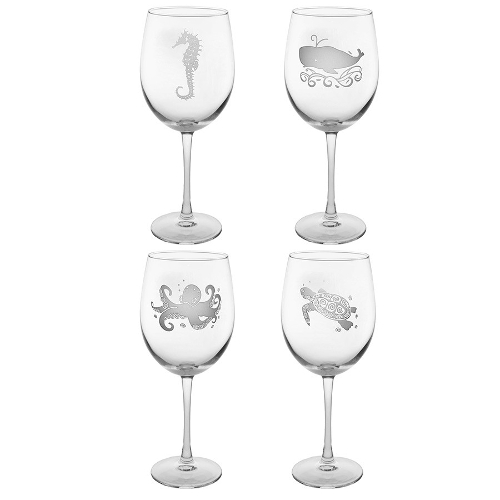Aquatic Life Designer Etched Wine Glasses (set of 4)